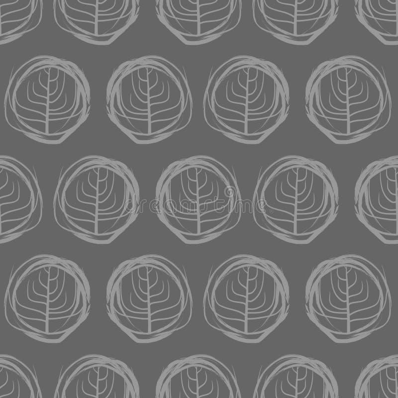 Διακοσμητικά άνευ ραφής σχέδια σχεδίων των κύκλων Γκρίζα δέντρα στο α απεικόνιση αποθεμάτων