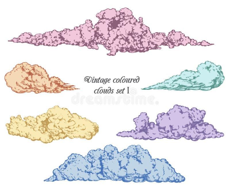 Διακοσμητικά διανυσματικά συρμένα χέρι εκλεκτής ποιότητας σύννεφα καθορισμένα διανυσματική απεικόνιση