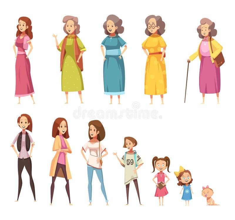 Διακοσμητικά εικονίδια παραγωγής γυναικών καθορισμένα διανυσματική απεικόνιση