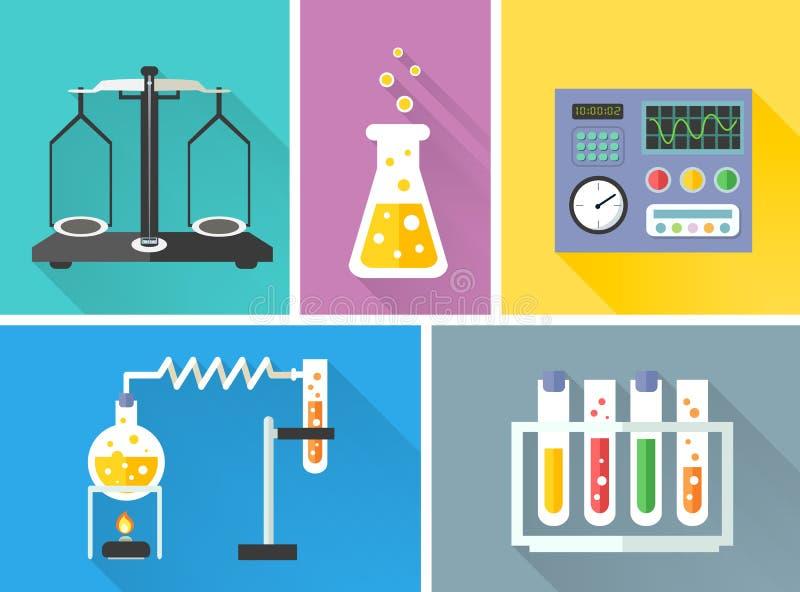 Διακοσμητικά εικονίδια εργαστηριακού εξοπλισμού καθορισμένα διανυσματική απεικόνιση