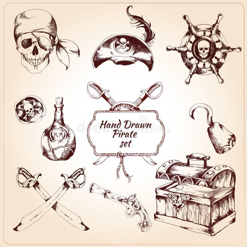 Διακοσμητικά εικονίδια πειρατών καθορισμένα διανυσματική απεικόνιση