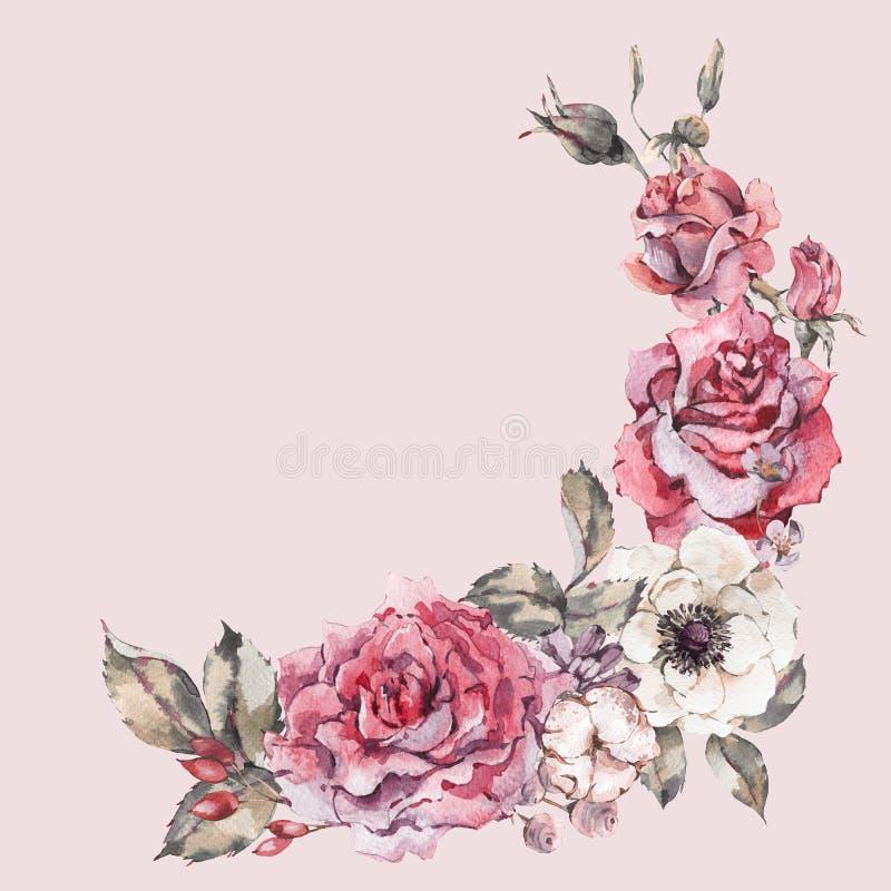 Διακοσμητικά εκλεκτής ποιότητας κόκκινα τριαντάφυλλα watercolor, floral στεφάνι φύσης ελεύθερη απεικόνιση δικαιώματος