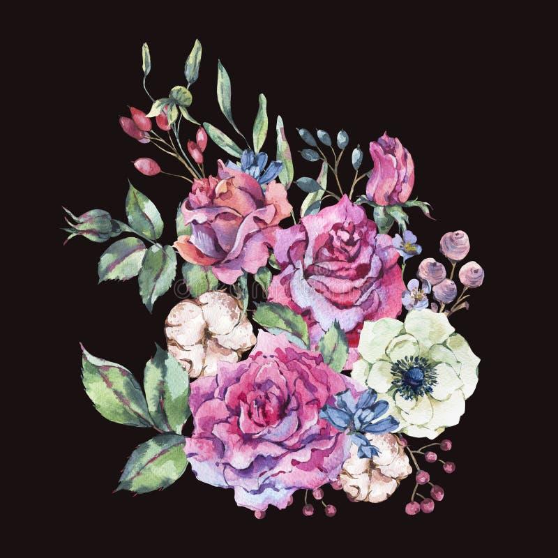 Διακοσμητικά εκλεκτής ποιότητας ρόδινα τριαντάφυλλα watercolor, ευχετήρια κάρτα φύσης με τα λουλούδια διανυσματική απεικόνιση