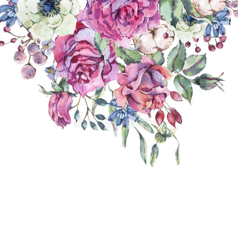 Διακοσμητικά εκλεκτής ποιότητας ρόδινα τριαντάφυλλα watercolor, ευχετήρια κάρτα φύσης με τα λουλούδια απεικόνιση αποθεμάτων