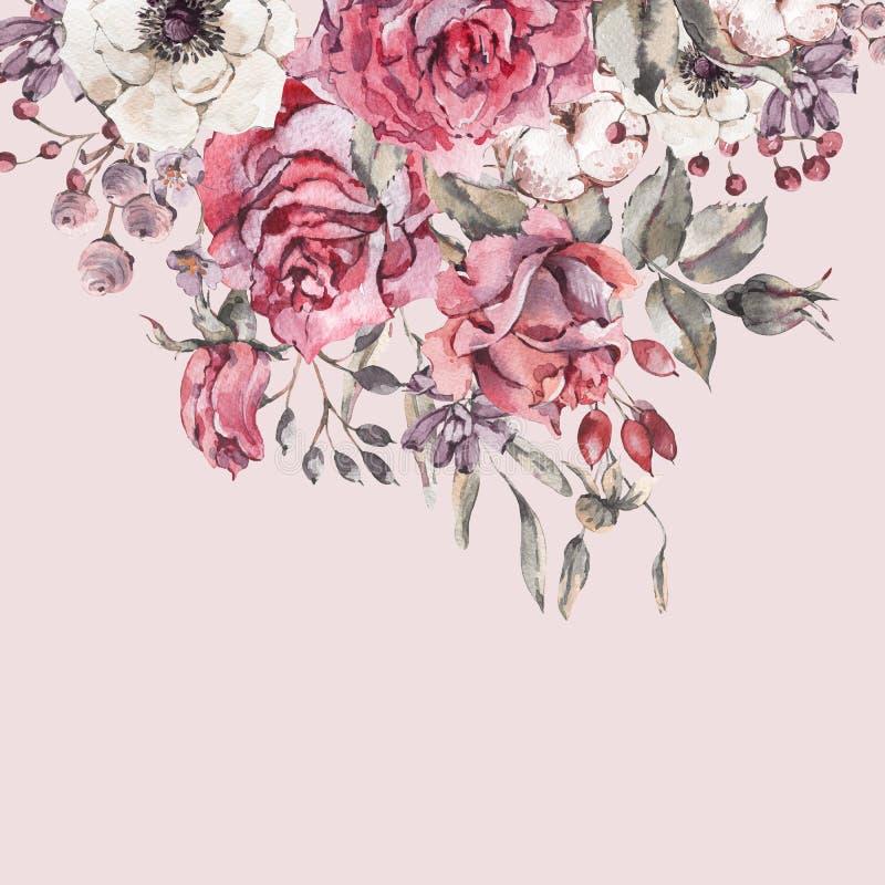 Διακοσμητικά εκλεκτής ποιότητας ρόδινα τριαντάφυλλα watercolor, ευχετήρια κάρτα φύσης με τα λουλούδια ελεύθερη απεικόνιση δικαιώματος