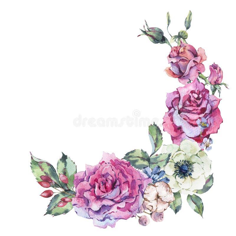 Διακοσμητικά εκλεκτής ποιότητας ρόδινα τριαντάφυλλα watercolor, floral στεφάνι φύσης ελεύθερη απεικόνιση δικαιώματος