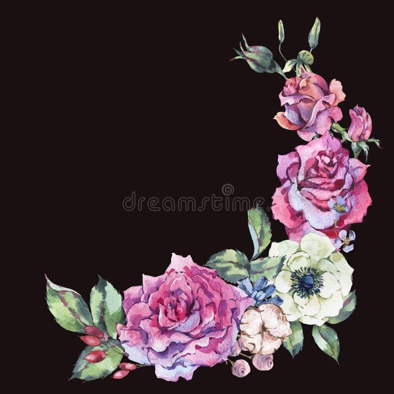 Διακοσμητικά εκλεκτής ποιότητας ρόδινα τριαντάφυλλα watercolor, floral στεφάνι φύσης απεικόνιση αποθεμάτων