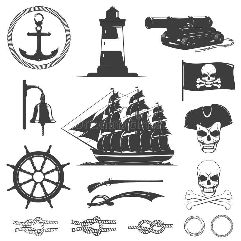 Διακοσμητικά εκλεκτής ποιότητας γραφικά εικονίδια πειρατών καθορισμένα απεικόνιση αποθεμάτων