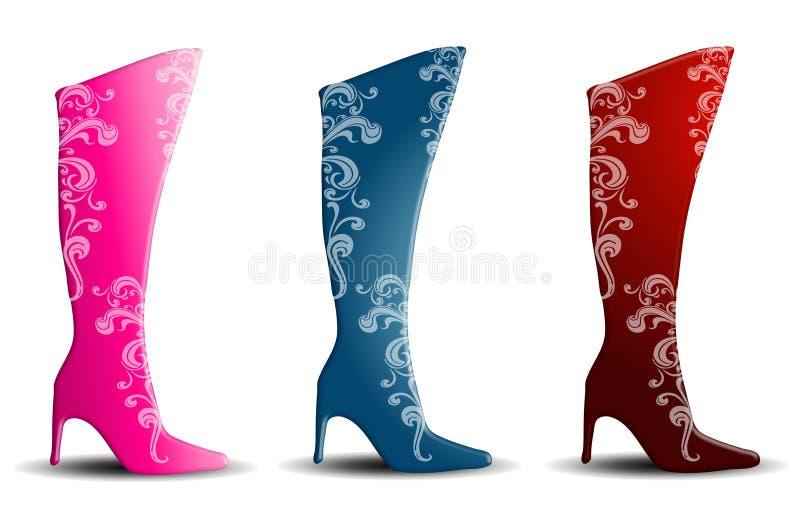 διακοσμητικά θηλυκά τακούνια μποτών ελεύθερη απεικόνιση δικαιώματος
