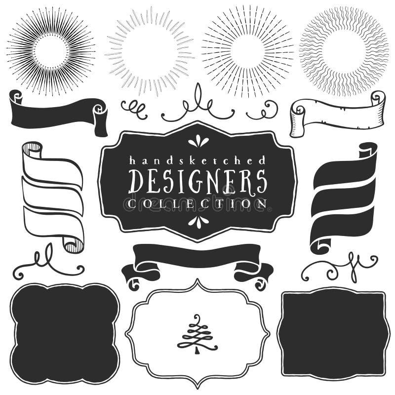 Διακοσμητικά διανυσματικά πρότυπα και στοιχεία για το σχέδιο των λογότυπων διανυσματική απεικόνιση