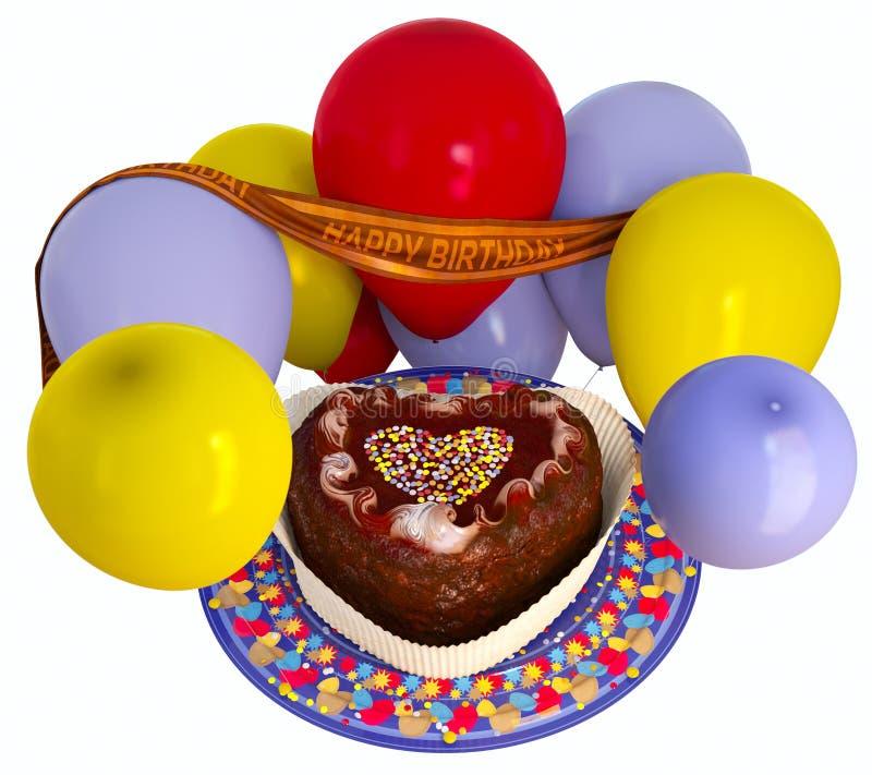 Διακοσμητικά κέικ και μπαλόνια γενεθλίων στοκ φωτογραφία