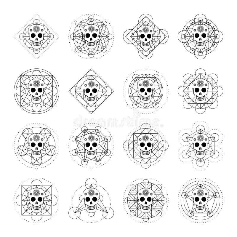 Διακοσμητικά κρανία με το γεωμετρικό σύμβολο ελεύθερη απεικόνιση δικαιώματος