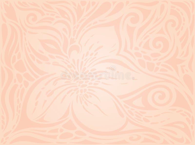 Διακοσμητικά λουλούδια, χλωμός ecru διανυσματικός σχεδίων εκλεκτής ποιότητας γάμος μόδας σχεδίου ταπετσαριών floral ελεύθερη απεικόνιση δικαιώματος