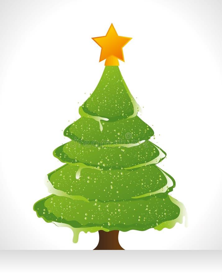 Διακοσμητικά ουσίες Χαρούμενα Χριστούγεννας και δέντρο πεύκων ελεύθερη απεικόνιση δικαιώματος