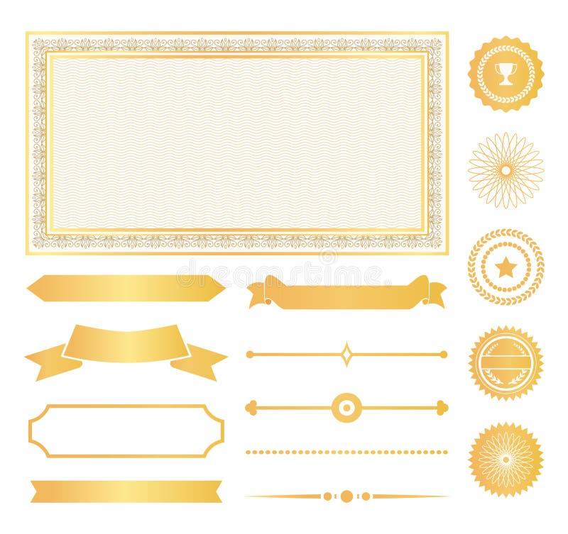 Διακοσμητικά πλαίσια, χρυσές σημάδια νερού και κορδέλλες ελεύθερη απεικόνιση δικαιώματος