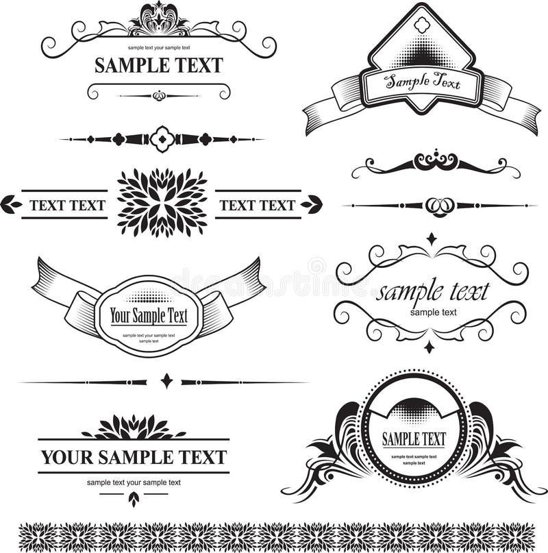 Διακοσμητικά στοιχεία - αναδρομικό εκλεκτής ποιότητας ύφος διανυσματική απεικόνιση