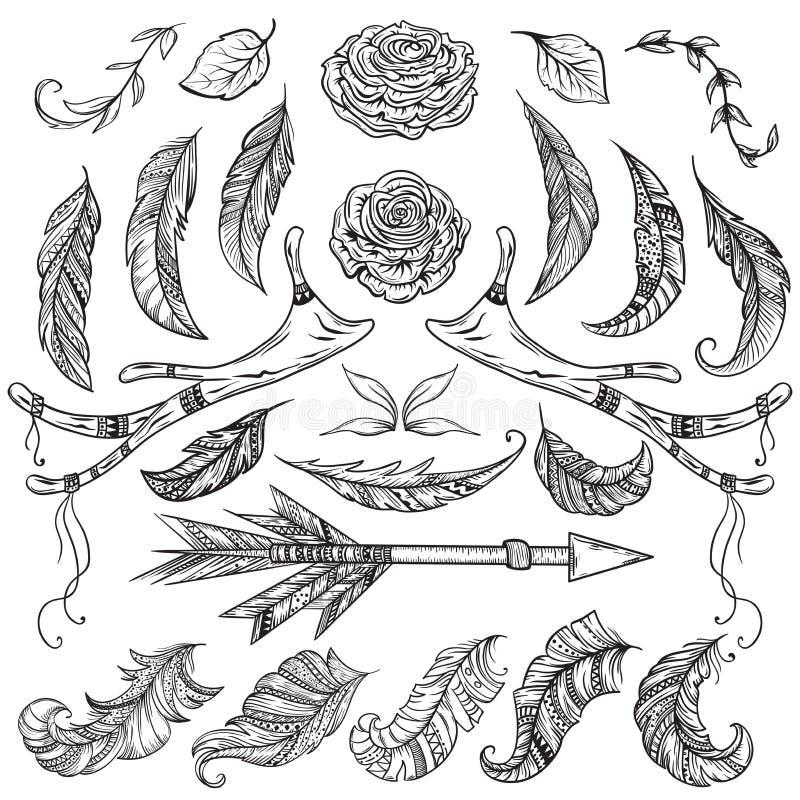 Διακοσμητικά στοιχεία σχεδίου συλλογής για τις γαμήλιες προσκλήσεις και τις κάρτες γενεθλίων Ελαφόκερας, φτερό, βέλος, λουλούδι,  διανυσματική απεικόνιση