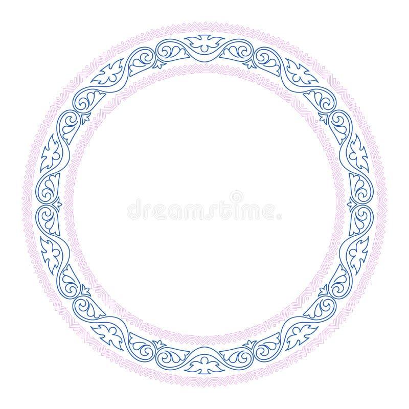 Διακοσμητικά στρογγυλά σύνορα πλαισίων με το παλαιό μπαρόκ ύφος για το σχέδιο πιάτων r απεικόνιση αποθεμάτων