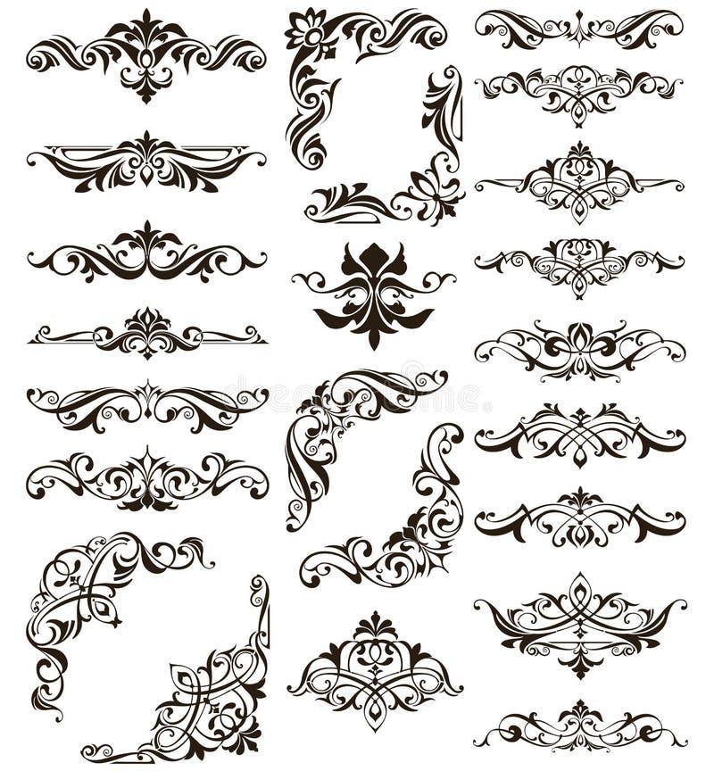 Διακοσμητικά σχεδίου δαντελλών συνόρων και γωνιών διανυσματικά καθορισμένα τέχνης στοιχεία διακοσμήσεων deco floral απεικόνιση αποθεμάτων