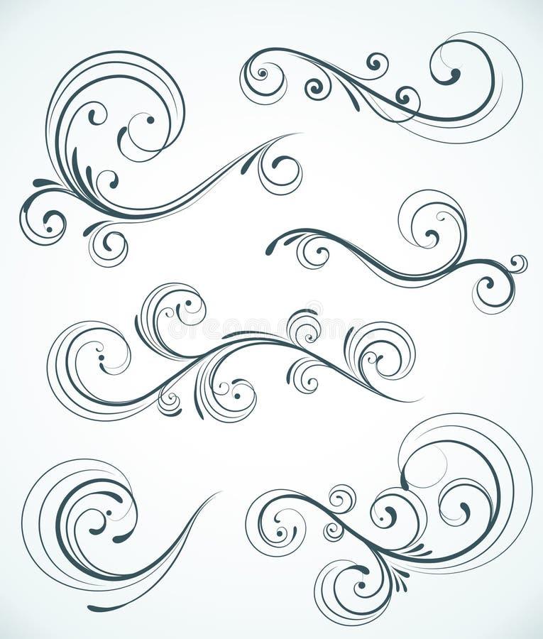 Διακοσμητικά floral στοιχεία διανυσματική απεικόνιση