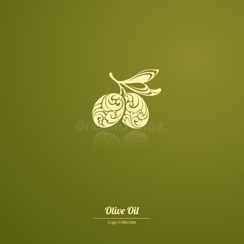 Διακοσμητικές ελιές προτύπων λογότυπων, ελαιόλαδο, περίκομψο εικονίδιο ελιών κλαδί ελιάς για την ετικέτα, πακέτο απεικόνιση αποθεμάτων