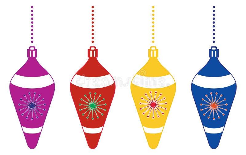 Διακοσμητικές ζωηρόχρωμες διακοσμήσεις χριστουγεννιάτικων δέντρων διανυσματική απεικόνιση