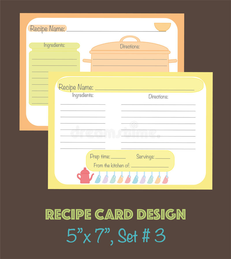 Διακοσμητικές κάρτες συνταγής που τίθενται με τα στοιχεία εργαλείων κουζινών ελεύθερη απεικόνιση δικαιώματος
