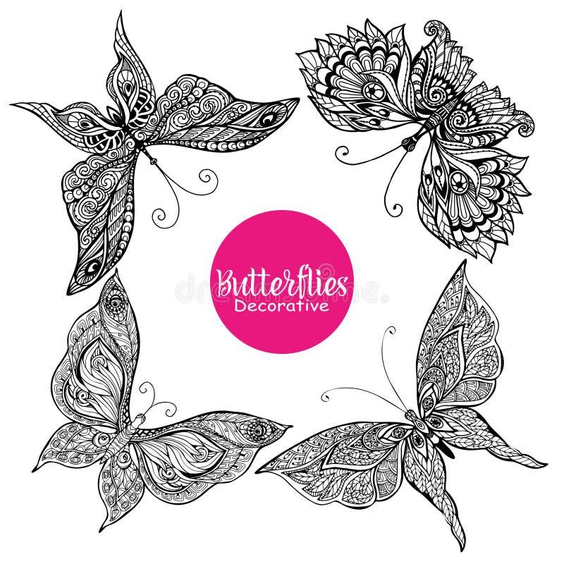 Διακοσμητικές πεταλούδες καθορισμένες απεικόνιση αποθεμάτων