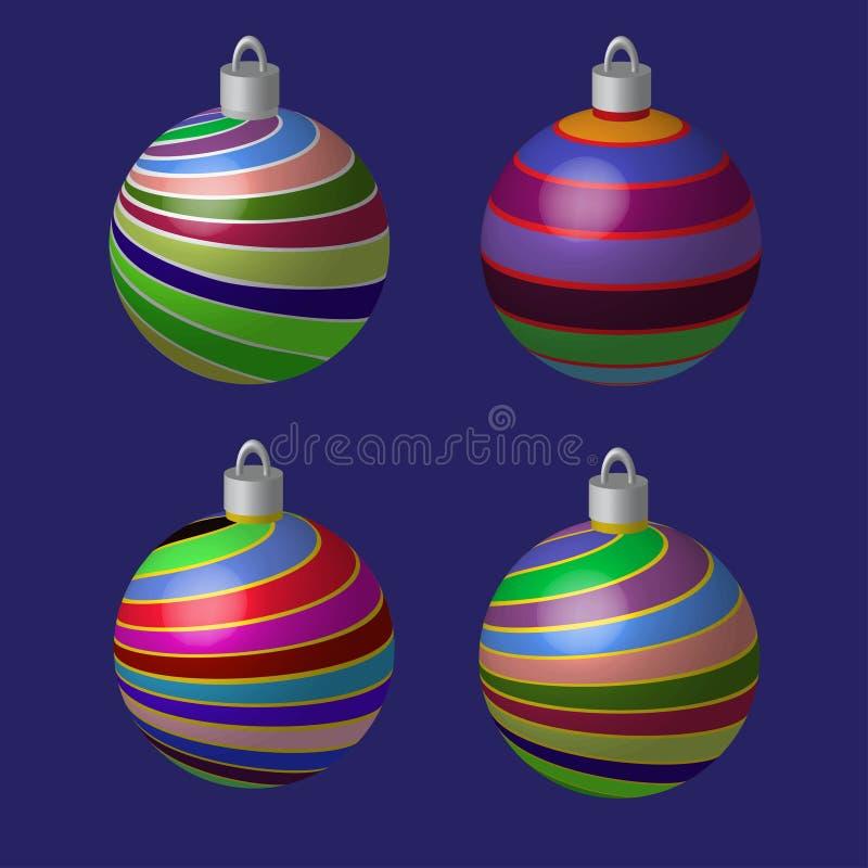 Διακοσμητικές σφαίρες για το χριστουγεννιάτικο δέντρο διανυσματική απεικόνιση