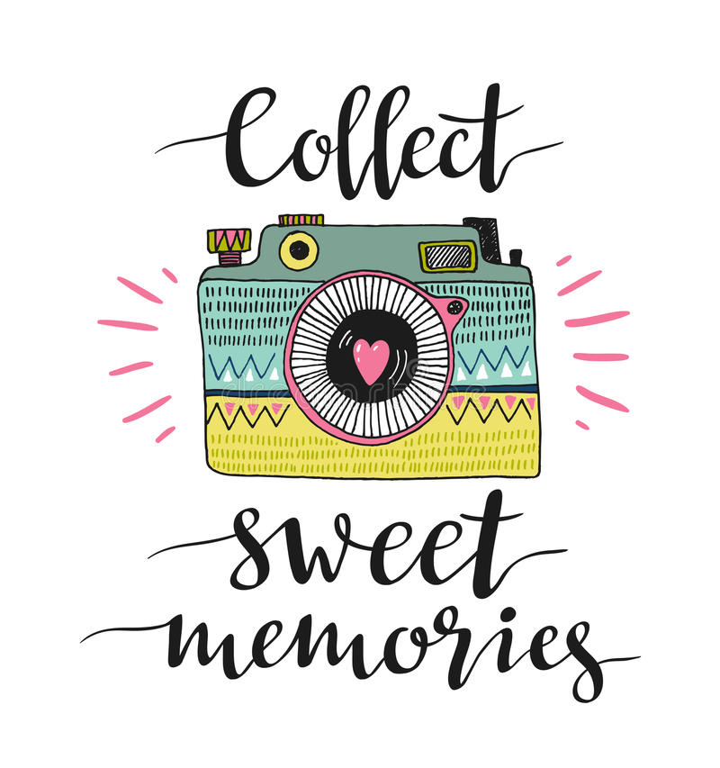 Διακοσμητική αναδρομική κάμερα φωτογραφιών και μοντέρνη εγγραφή - συλλέξτε τις γλυκές μνήμες επίσης corel σύρετε το διάνυσμα απει διανυσματική απεικόνιση