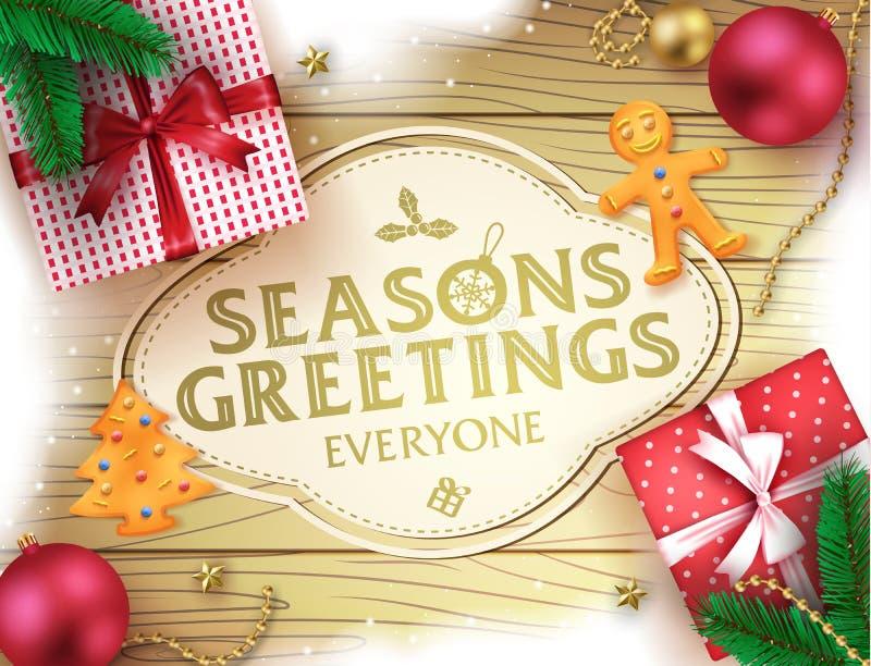 Διακοσμητική αφίσα χαιρετισμού χαιρετισμών εποχών Χριστουγέννων στο καφετί ξύλινο υπόβαθρο διανυσματική απεικόνιση