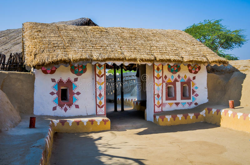 Διακοσμητική είσοδος του σπιτιού σε Kutch, Gujarat, Ινδία στοκ φωτογραφίες με δικαίωμα ελεύθερης χρήσης