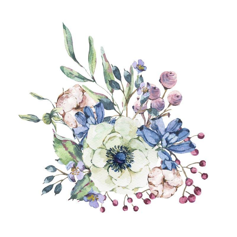 Διακοσμητική εκλεκτής ποιότητας φυσική ευχετήρια κάρτα watercolor με το anemone, wildflowers, βαμβάκι ελεύθερη απεικόνιση δικαιώματος