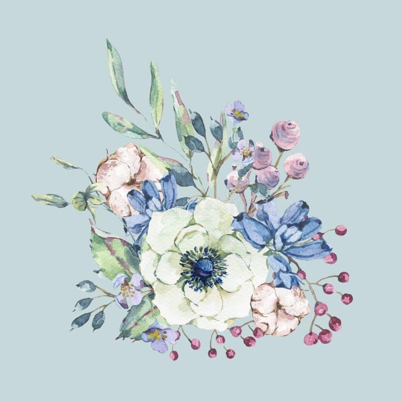 Διακοσμητική εκλεκτής ποιότητας φυσική ευχετήρια κάρτα watercolor με το anemone, wildflowers, βαμβάκι διανυσματική απεικόνιση