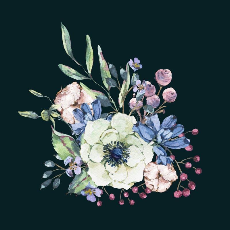 Διακοσμητική εκλεκτής ποιότητας φυσική ευχετήρια κάρτα watercolor με το anemone, wildflowers, βαμβάκι απεικόνιση αποθεμάτων