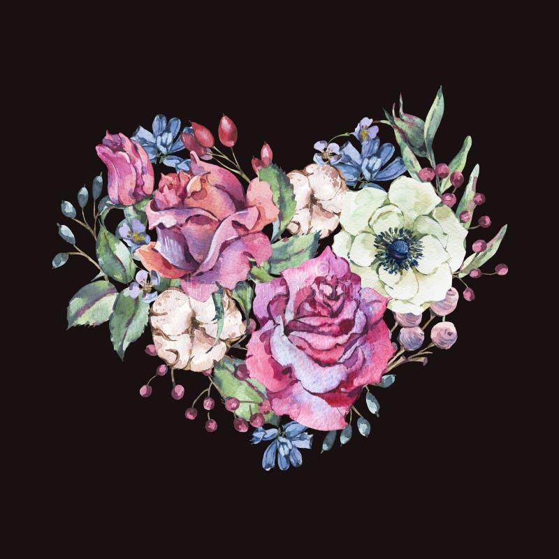 Διακοσμητική εκλεκτής ποιότητας floral καρδιά watercolor των ρόδινων τριαντάφυλλων διανυσματική απεικόνιση