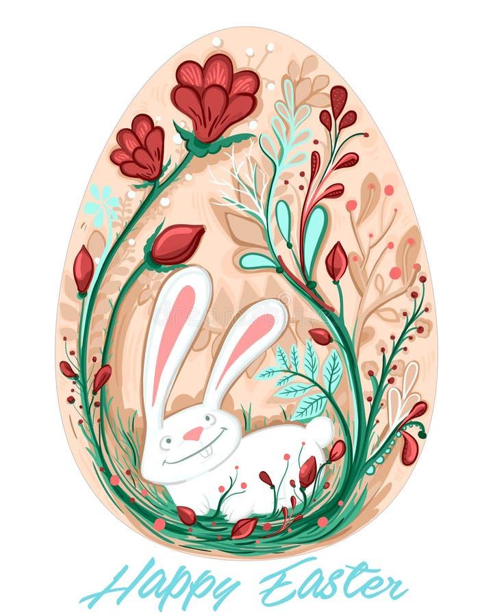 Διακοσμητική ευχετήρια κάρτα αυγών Πάσχας με το κουνέλι και τα κόκκινα λουλούδια στοκ φωτογραφία