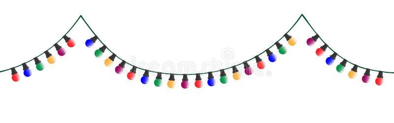 Διακοσμητική ζωηρόχρωμη αλυσίδα Χριστουγέννων με τους βολβούς απεικόνιση αποθεμάτων