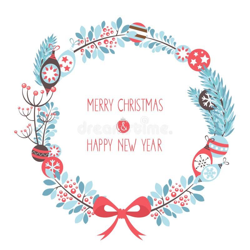 Διακοσμητική κάρτα εορτασμού στεφανιών Χριστουγέννων διανυσματική απεικόνιση