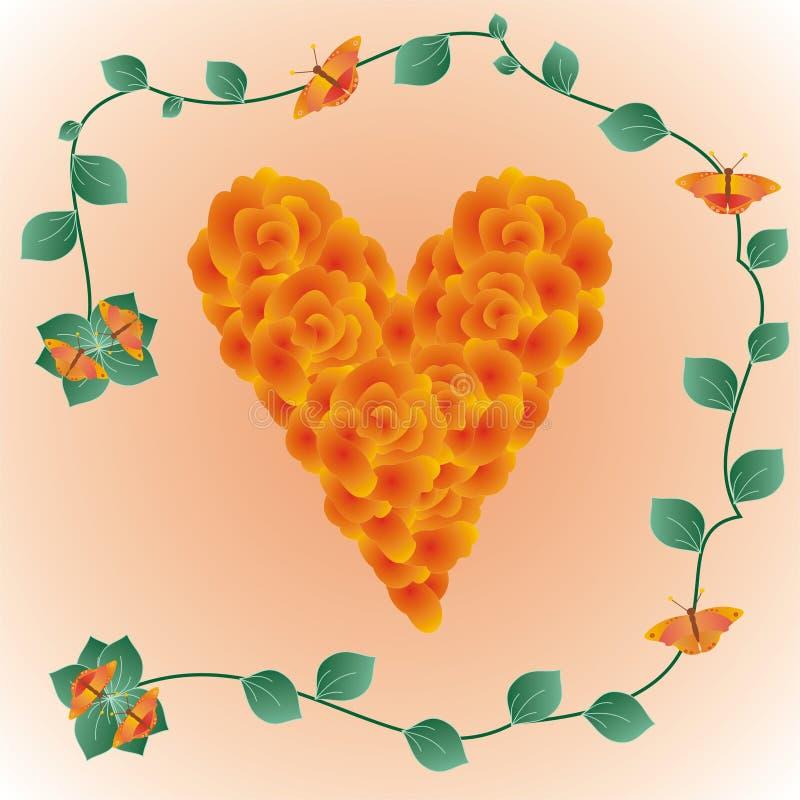 Διακοσμητική καρδιά φιαγμένη από τριαντάφυλλα απεικόνιση αποθεμάτων