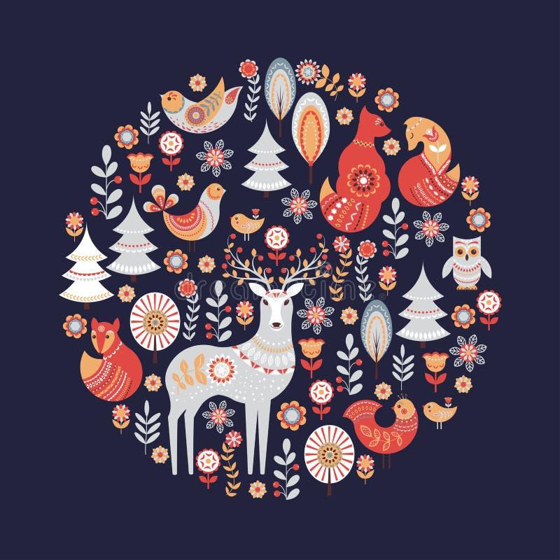 Διακοσμητική κυκλική διακόσμηση με τα ζώα, τα πουλιά, τα λουλούδια και τα δέντρα διανυσματική απεικόνιση