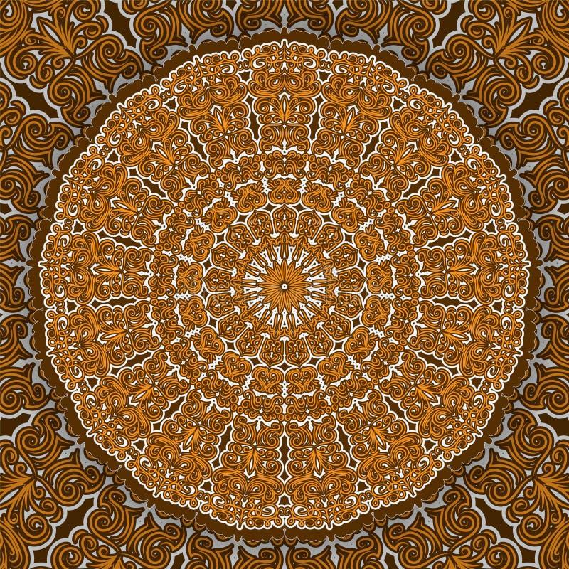 Διακοσμητική στρογγυλή διακόσμηση Mandala Μπορέστε να χρησιμοποιηθείτε για τη ευχετήρια κάρτα, την τυπωμένη ύλη τηλεφωνικής περίπ διανυσματική απεικόνιση