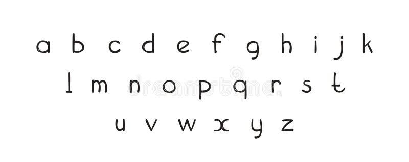 Διακοσμητική συρμένη χέρι ABC εγγραφή πηγών, επιστολές αλφάβητου Χειρόγραφο τυπογραφικό σχέδιο Αστείες τολμηρές επιστολές κινούμε διανυσματική απεικόνιση
