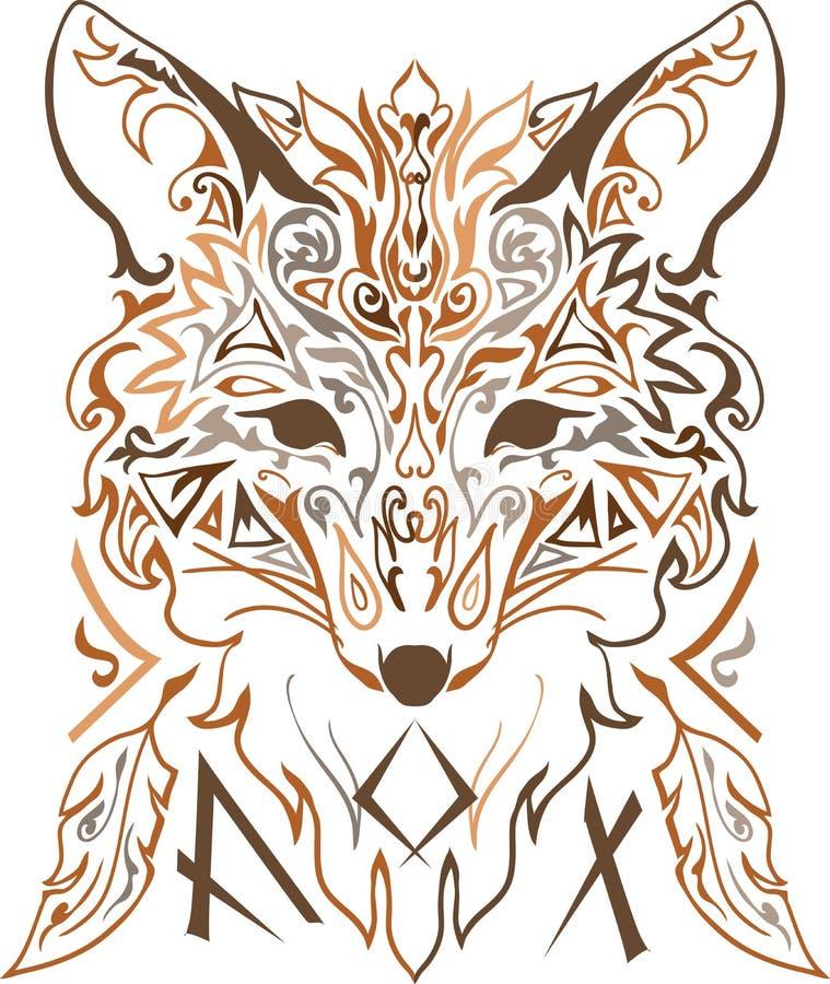 Διακοσμητική φυλετική σκιαγραφία αλεπούδων ύφους διανυσματική απεικόνιση