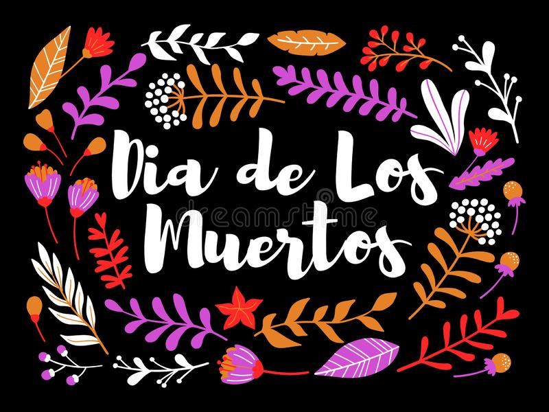 Διακοσμητική floral ευχετήρια κάρτα με την επιγραφή Dia de Los muertos ελεύθερη απεικόνιση δικαιώματος