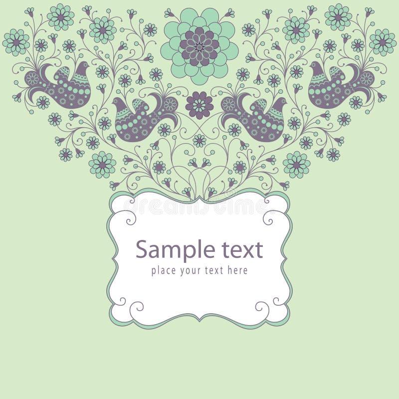 Διακοσμητική floral κάρτα με ένα πλαίσιο διανυσματική απεικόνιση