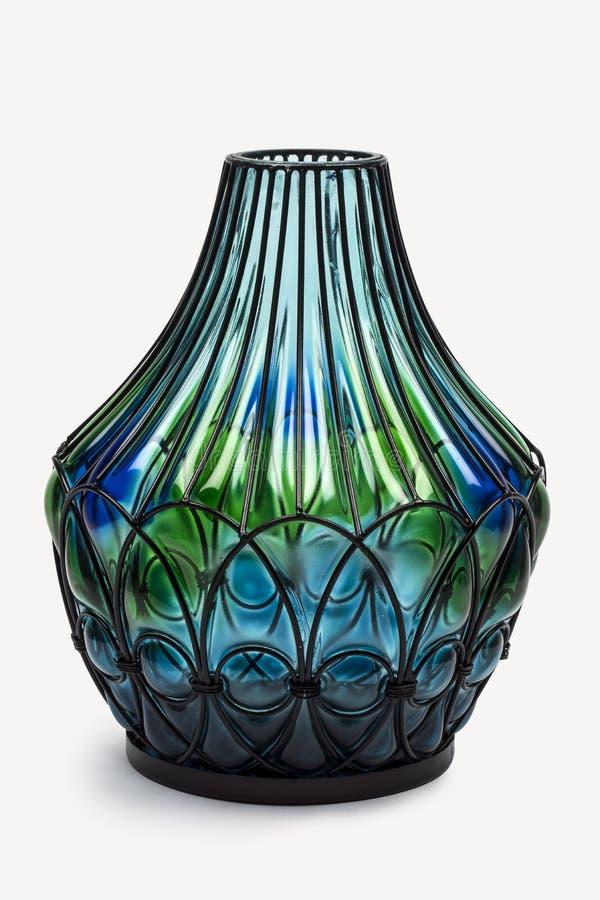 ΔΙΑΚΟΣΜΗΤΙΚΑ μοναδικά βάζα λουλουδιών γυαλιού σύγχρονος σαφής και αδιαφανής ολόκληρο ένα φάσμα χρώματος στοκ φωτογραφίες