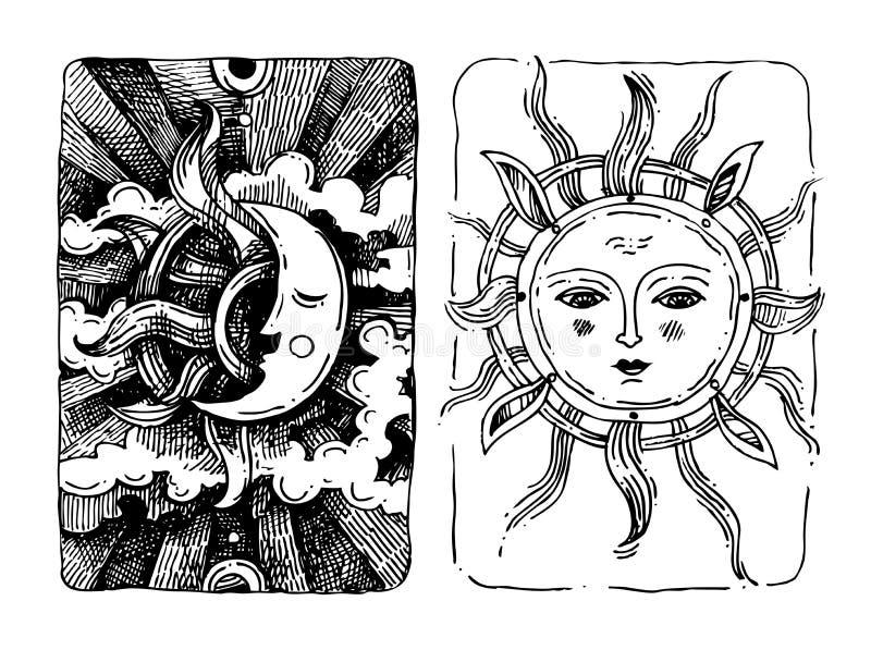 Διακοσμητικοί ήλιος και φεγγάρι ελεύθερη απεικόνιση δικαιώματος