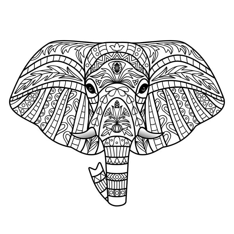 Διακοσμητικός λευκός ελέφαντας διανυσματική απεικόνιση