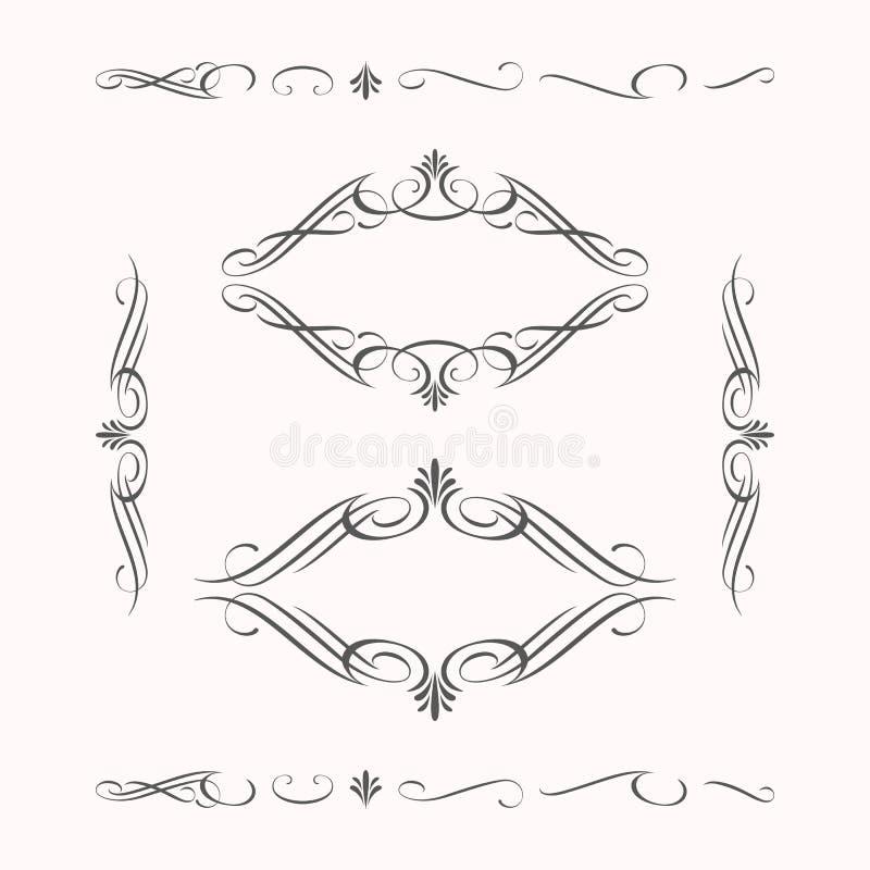 Διακοσμητικός κλασικός κομψός γωνιών συνόρων στοιχείων απεικόνιση αποθεμάτων